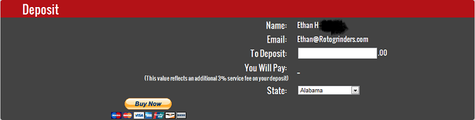 Deposit Screen for Cantor Fantasy Sports
