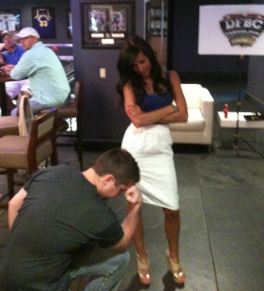 Kay Adams disapproves of Cameron MacMillan's public Tebowing at the DFBC