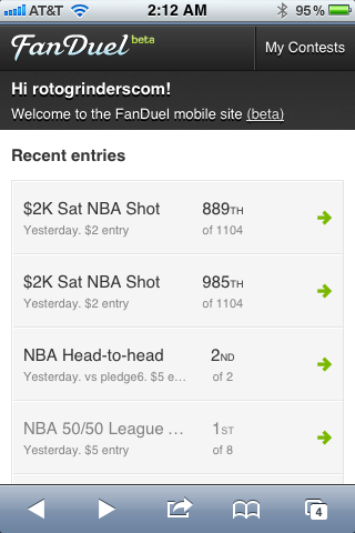 FanDuel Mobile App Screenshot in Safari