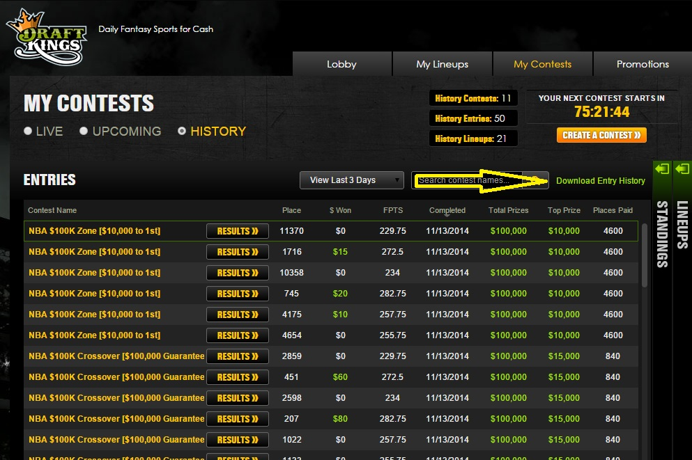Tracking Your Results on DraftKings
