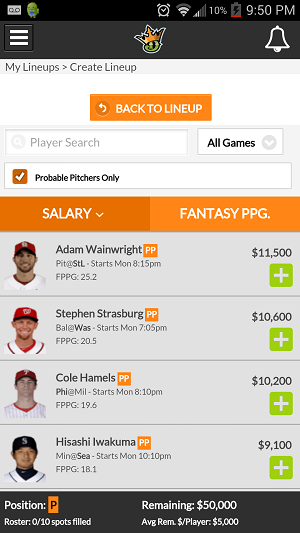 DraftKings offers an impresive mobile experience