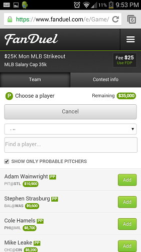 FanDuel's Mobile Site is Superb